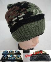 Knitted Winter Hat [Assorted Camo] *Plush Lining